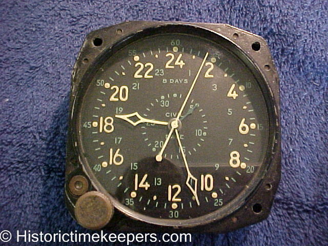 Restored WWII Waltham CDIA Aircraft Clock