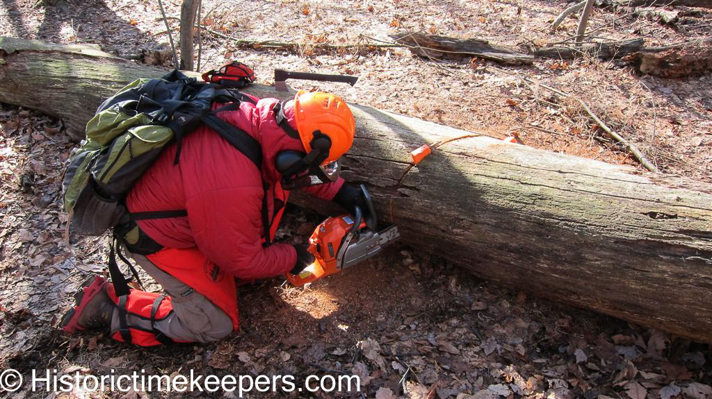 Watchmaker using Chainsaw on Appalachian Trail