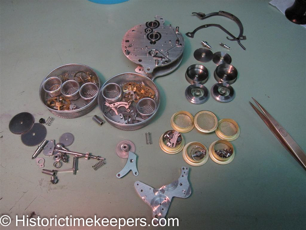 Fully disassembled and cleaned Hamilton Elgin 37500 Aircraft Clock